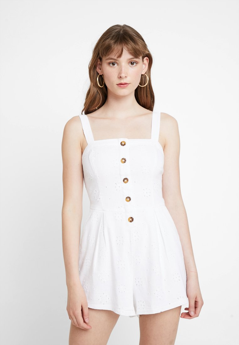 Hollister Co. - BUTTON FRONT ROMPER - Jumpsuit - white eyelet