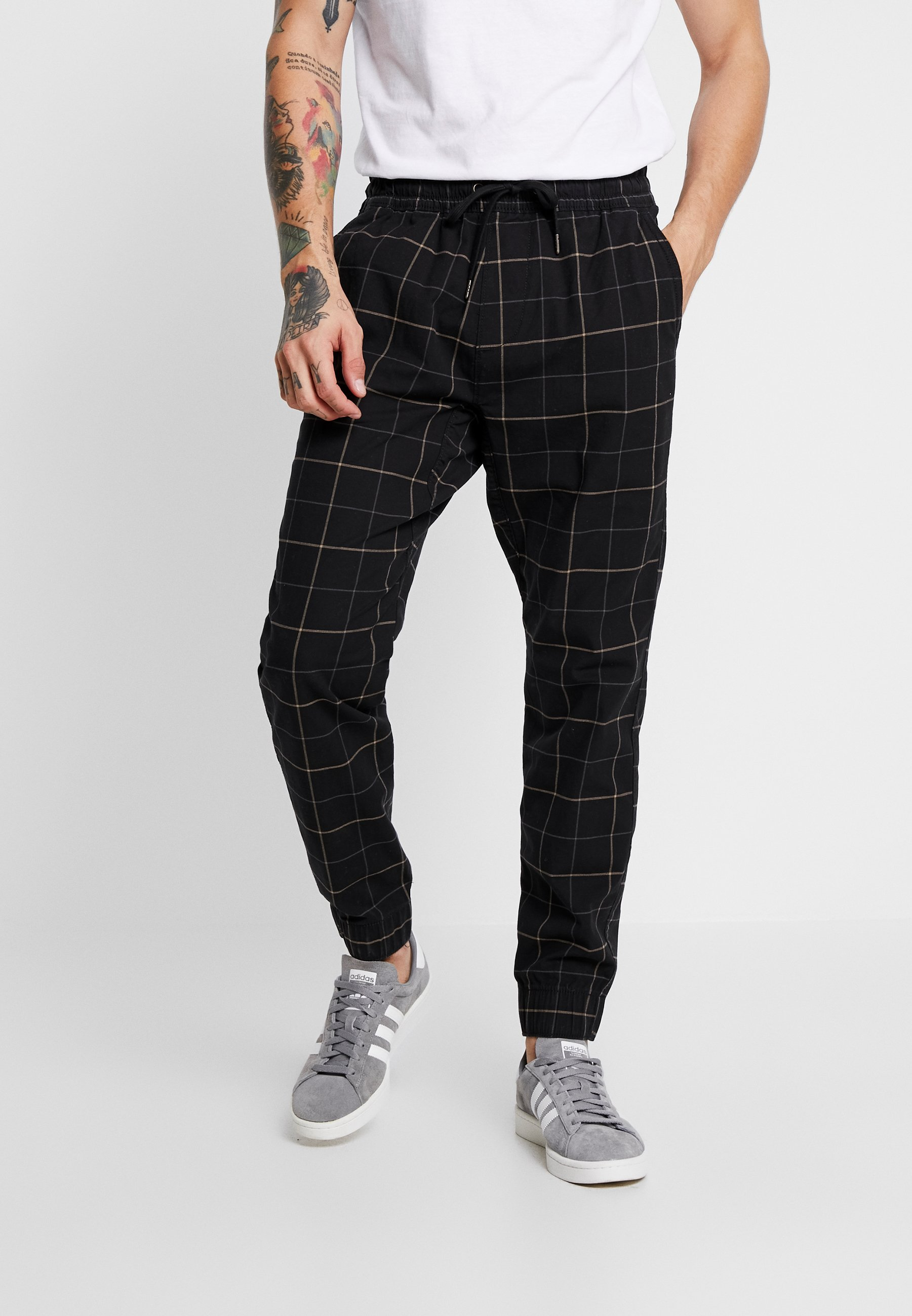 Hollister Co. Plaid - Broek Khaki/black MktaOoGz Ha6kaJTz
