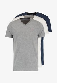 Hollister Co. - 3 PACK - T-shirt - bas - white grey navy - 6