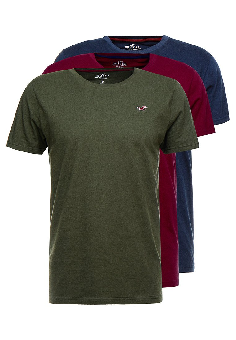 Hollister Co. - CREW 3 PACK - T-shirt basic - navy/olive/burg