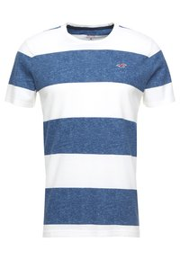 Hollister Co. - STRIPED TEXTURE TEE EXCLUSIVE - Print T-shirt - white/navy - 0