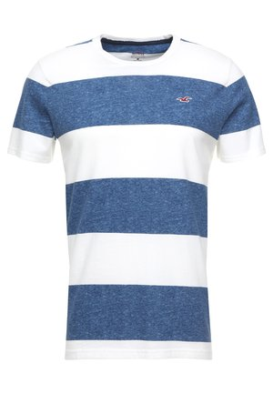 STRIPED TEXTURE TEE EXCLUSIVE - Triko s potiskem - white/navy