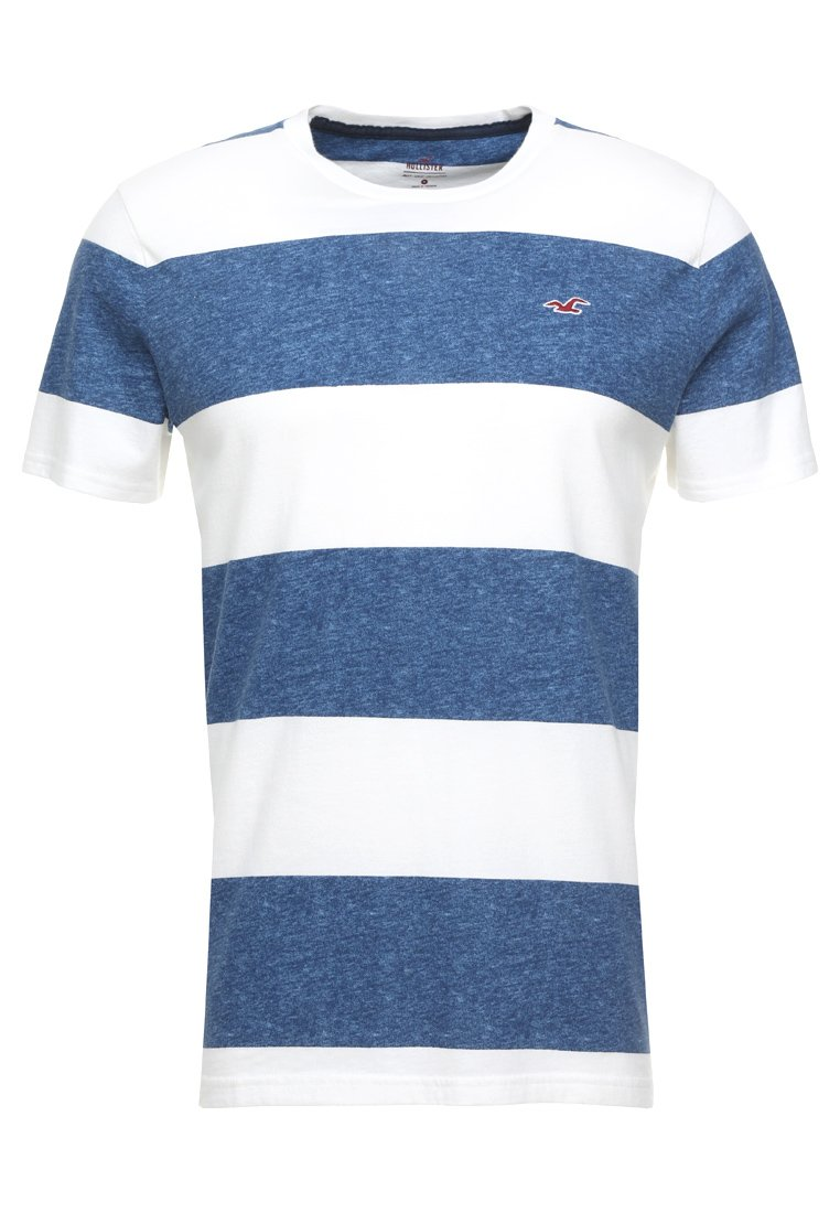Hollister Co. - STRIPED TEXTURE TEE EXCLUSIVE - Print T-shirt - white/navy