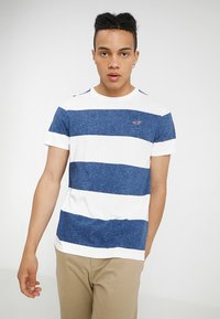 Hollister Co. - STRIPED TEXTURE TEE EXCLUSIVE - Print T-shirt - white/navy - 2