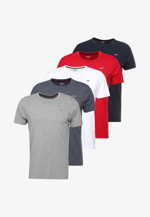 5 PACK CREW  - Print T-shirt - white/grey/red/navy texture/black