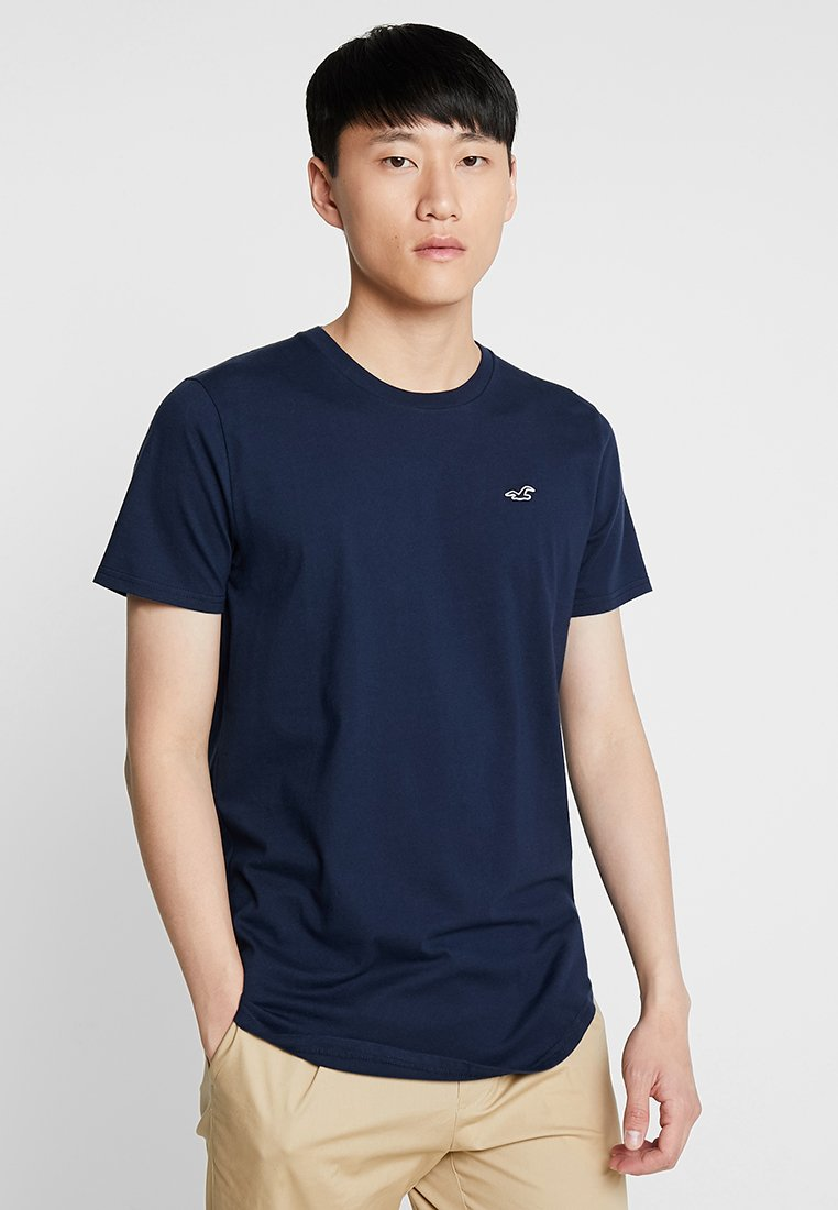 Hollister Co. - CURVED HEM - Jednoduché triko - navy