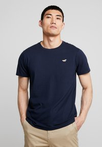Hollister Co. - ICON VARIETY CREW  - T-shirt - bas - navy with gold - 0