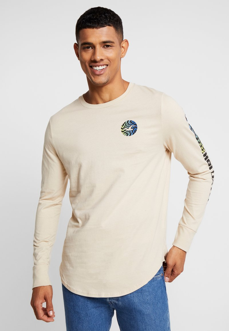 Hollister Co. - CENTER LOGO - Topper langermet - sand
