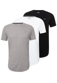 Hollister Co. - 3 PACK - T-shirt basic - white/ grey /black - 0