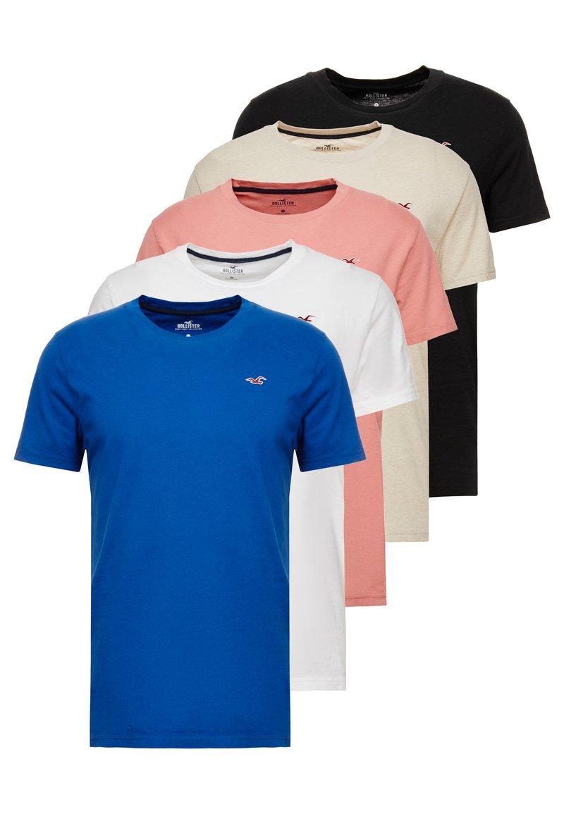 Hollister Co. - SEASONAL CREW 5 PACK - Camiseta básica - white/tan/pink blue/black
