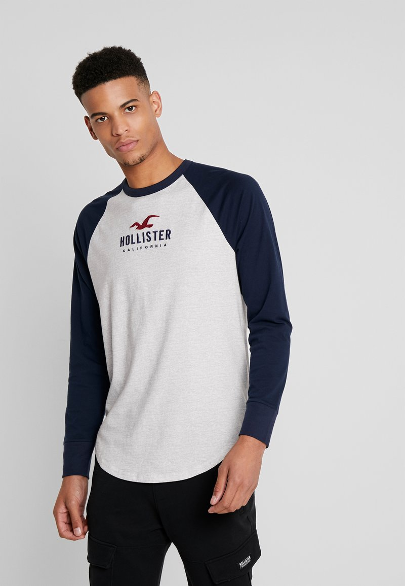 Hollister Co. - TECH LOGO - Long sleeved top - grey/navy