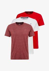Hollister Co. - SEASONAL CREW 3 PACK - T-shirt basic - red/white/mottled bordeaux - 3