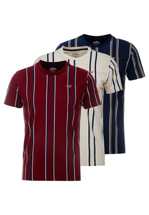 VERT STRIPE 3 PACK - T-shirt imprimé - navy/burg/tan