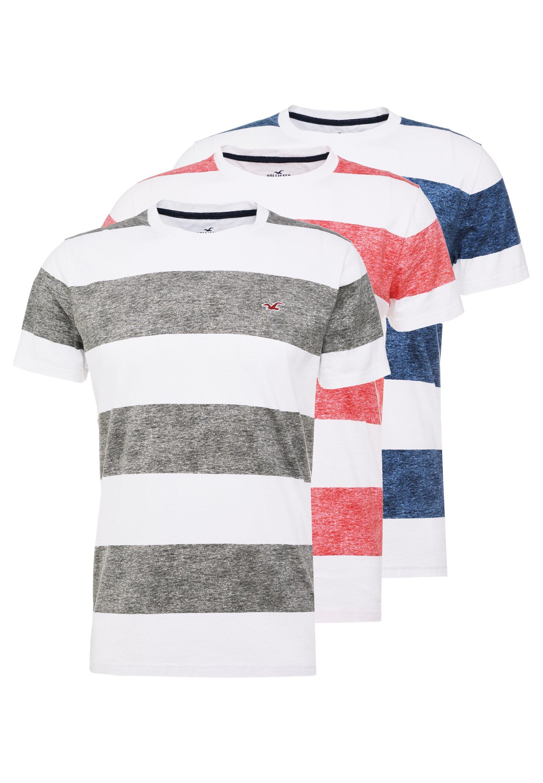 Hollister Co. THICK STRIPE 3 PACK - T-shirt z nadrukiem - navy/red/olive