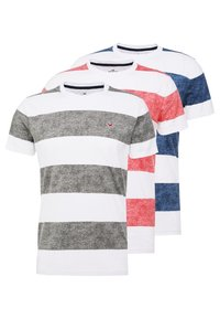 Hollister Co. - THICK STRIPE 3 PACK - T-shirt imprimé - navy/red/olive - 0