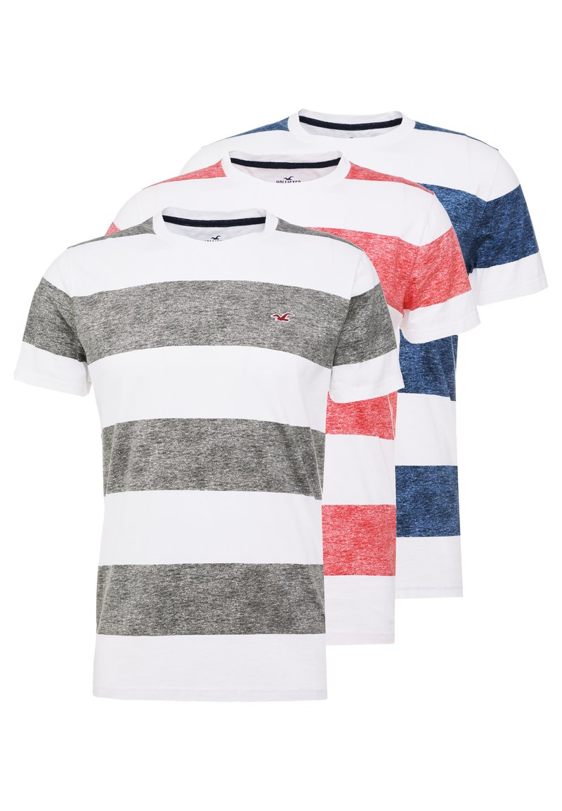 Hollister Co. - THICK STRIPE 3 PACK - T-shirt imprimé - navy/red/olive