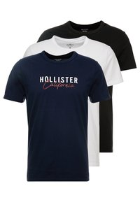 Hollister Co. - MULTIPACK CHEST SIGNATURE LOGO 3 PACK - Triko s potiskem - black/white/navy - 0