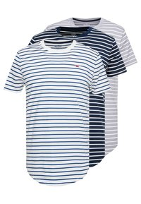 Hollister Co. - 3 PACK - Camiseta estampada - white/grey/dark blue - 0