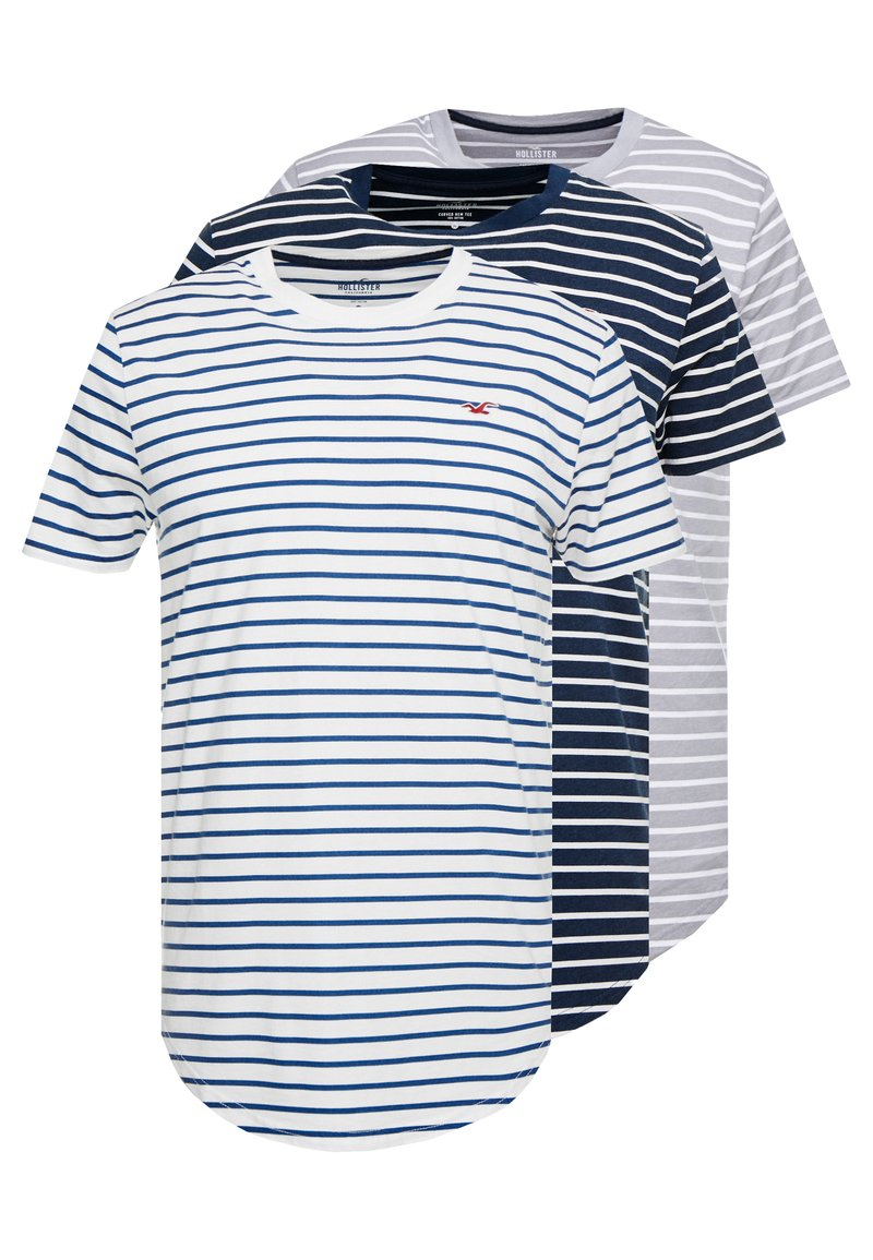 Hollister Co. - 3 PACK - Camiseta estampada - white/grey/dark blue