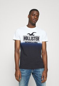 Hollister Co. - OMBRE LOGO - Camiseta estampada - white/navy - 0