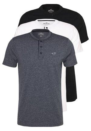 HENLEY 3 PACK - Jednoduché triko - white/navy/black