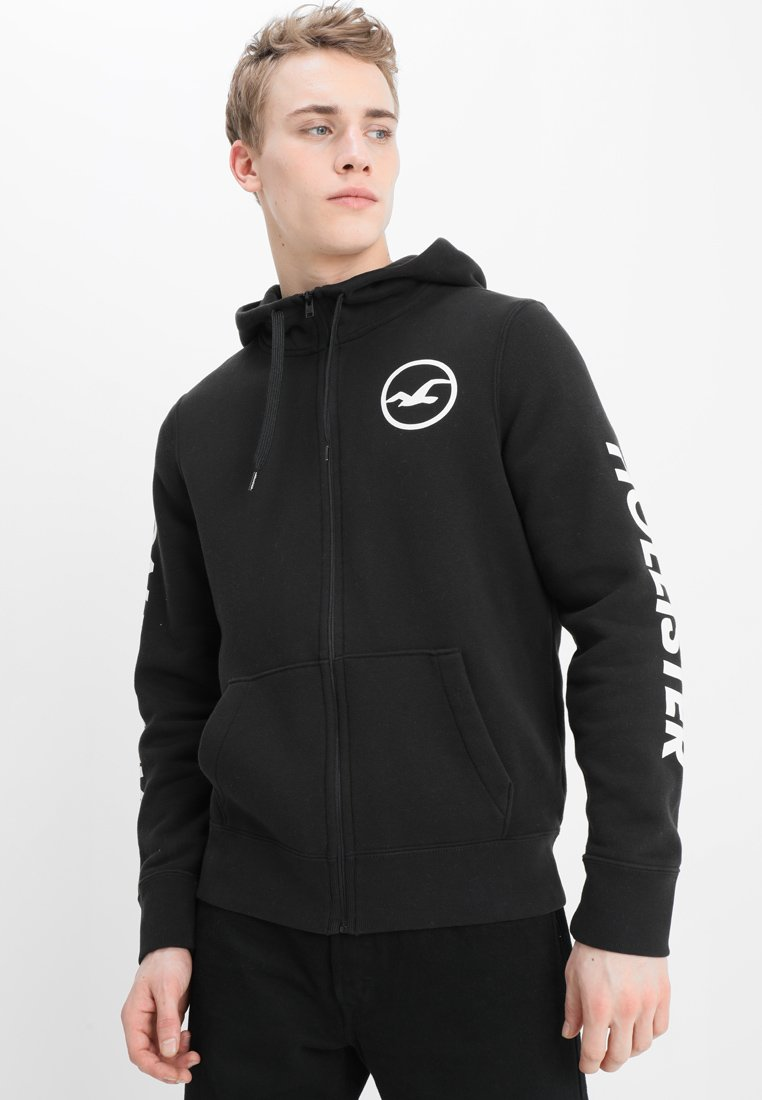 Hollister Co. - PRINT LOGO - Zip-up hoodie - black