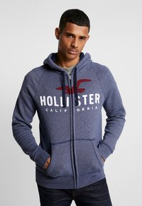 Hollister Co. - ICONIC TECH LOGO  - Huvtröja med dragkedja - navy - 0
