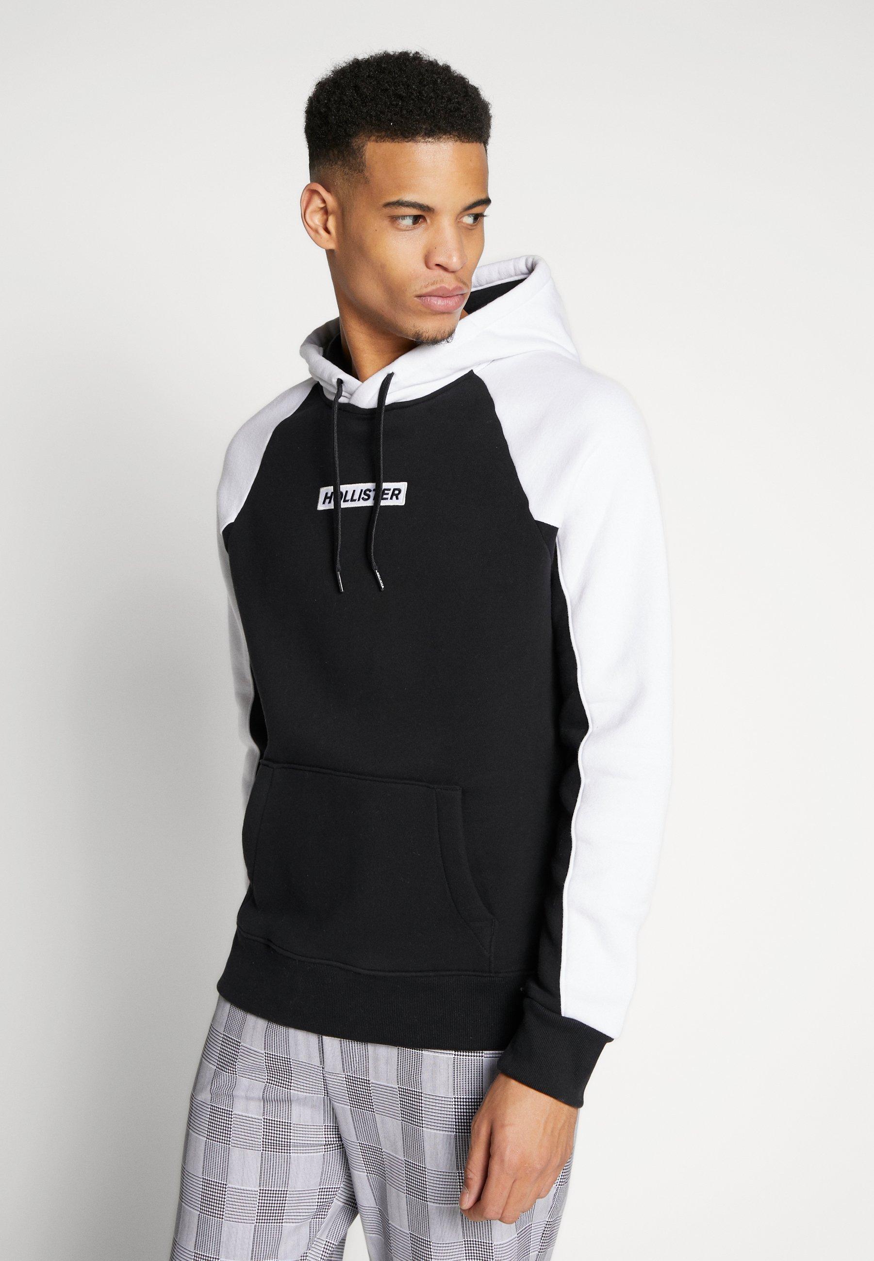 Hollister Co. COLORBLOCK - Bluza z kapturem - black/white