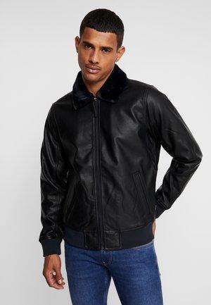 AVIATOR - Faux leather jacket - black
