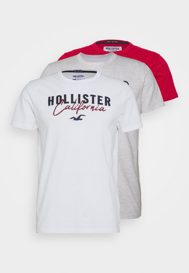 3 PACK - Camiseta estampada - white/grey/red