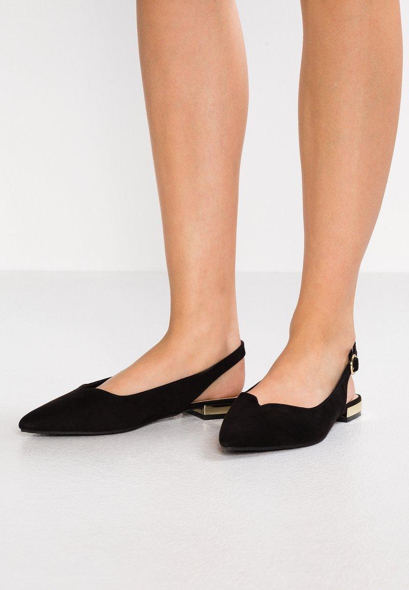 Head over Heels by Dune - HAPPY - Baleríny s otevřenou patou - black
