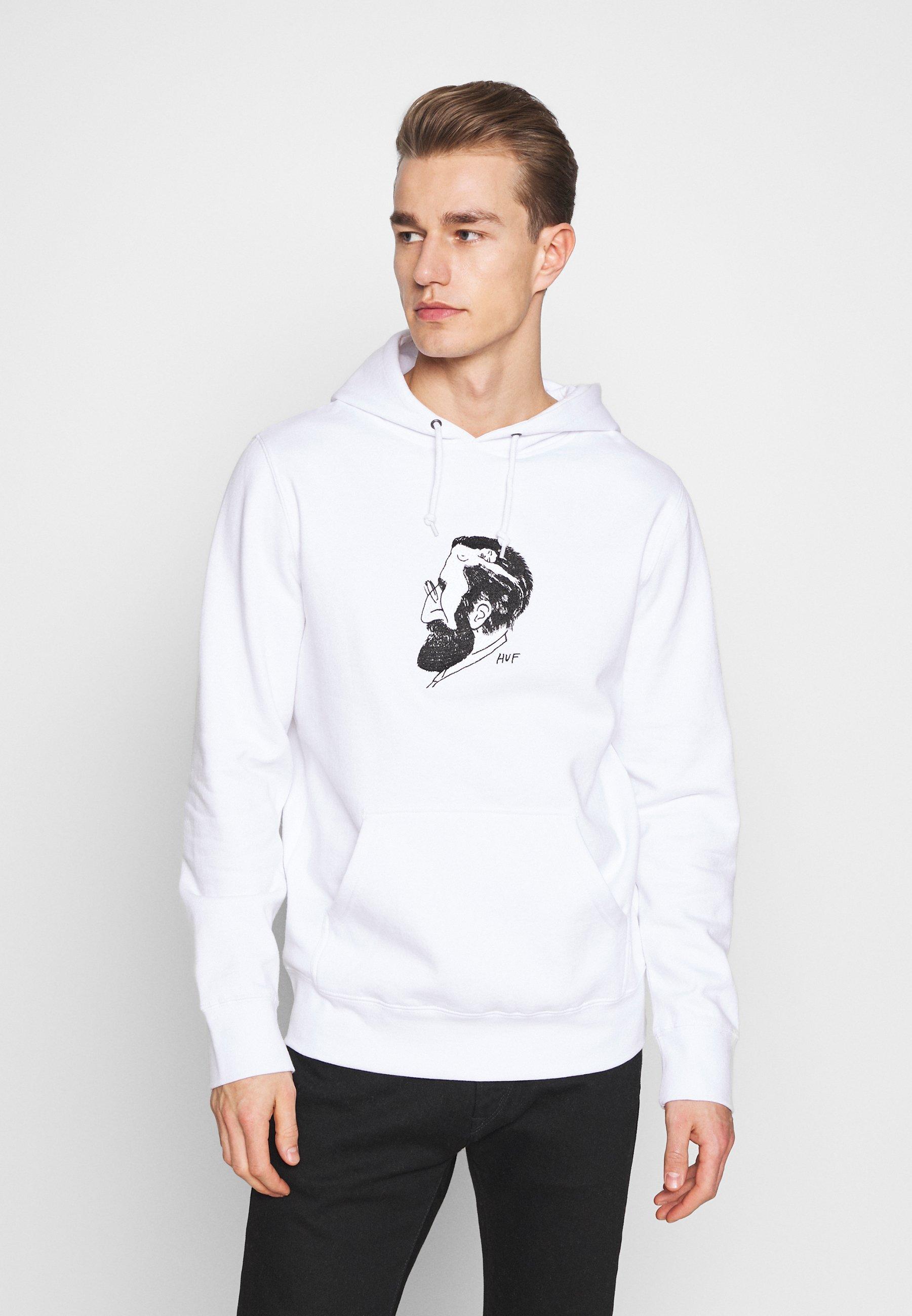 HUF MANS MIND HOODIE - Bluza z kapturem - white
