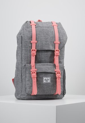 LITTLE AMERICA YOUTH - Rucksack - raven crosshatch/flamingo pink