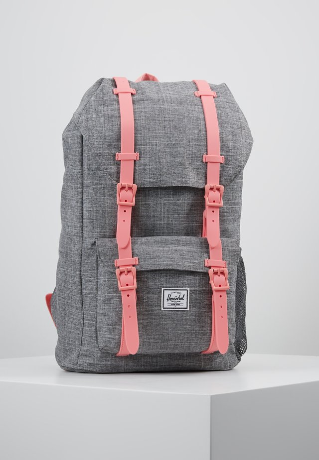 LITTLE AMERICA YOUTH - Mochila - raven crosshatch/flamingo pink