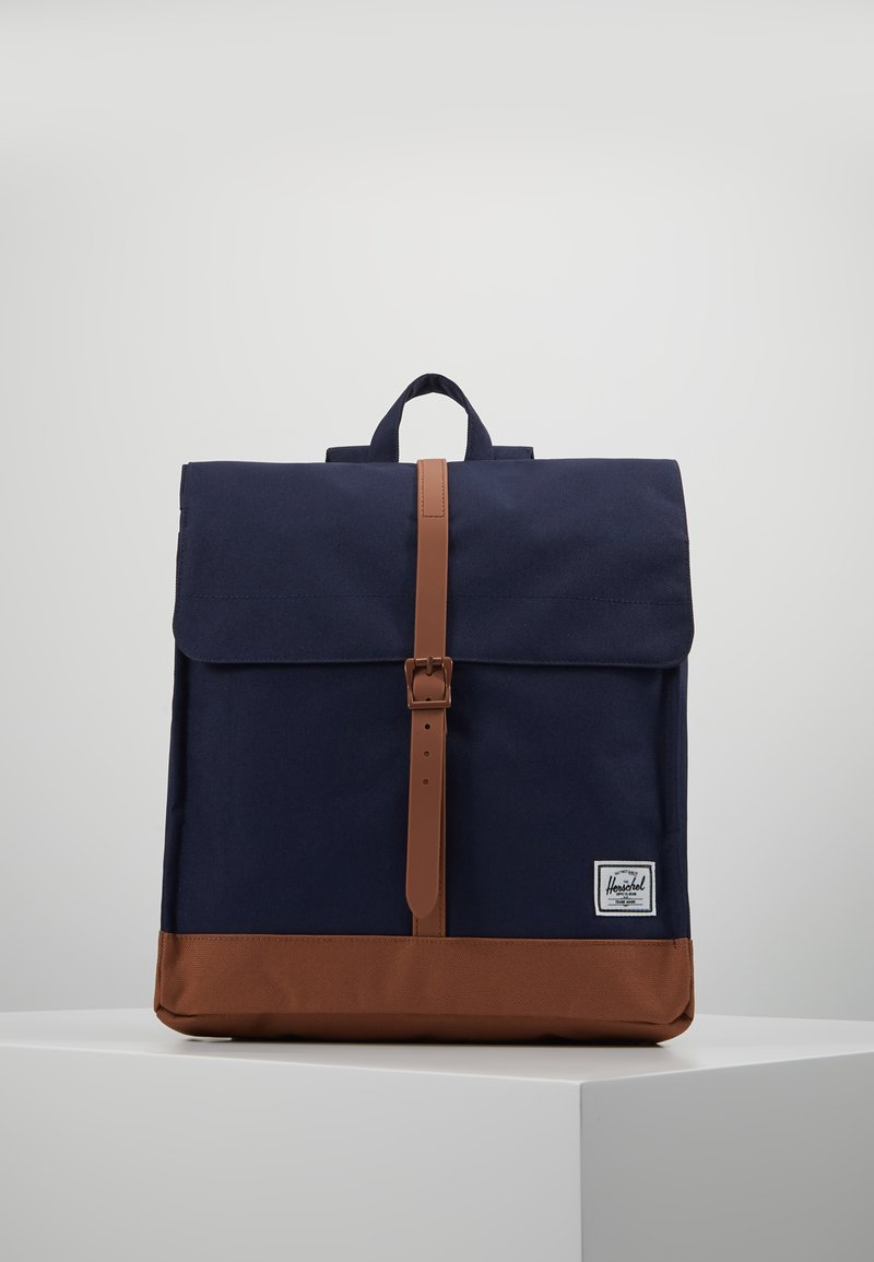Herschel - CITY MID VOLUME - Reppu - peacoat/saddle brown