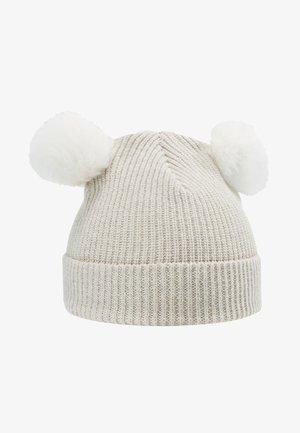 KIDS PATENT FOLD UP POMPOMS - Bonnet - white/white