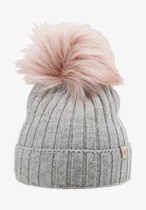 Beanie - light grey / rosa pompom