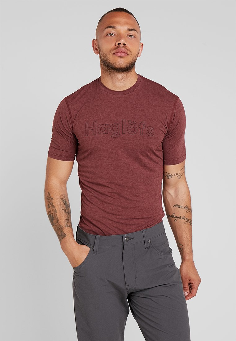 Haglöfs - RIDGE TEE MEN - Printtipaita - maroon red