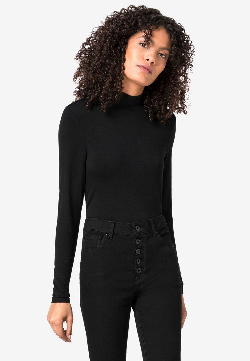 HALLHUBER - MIT STEHKRAGEN - Long sleeved top - black