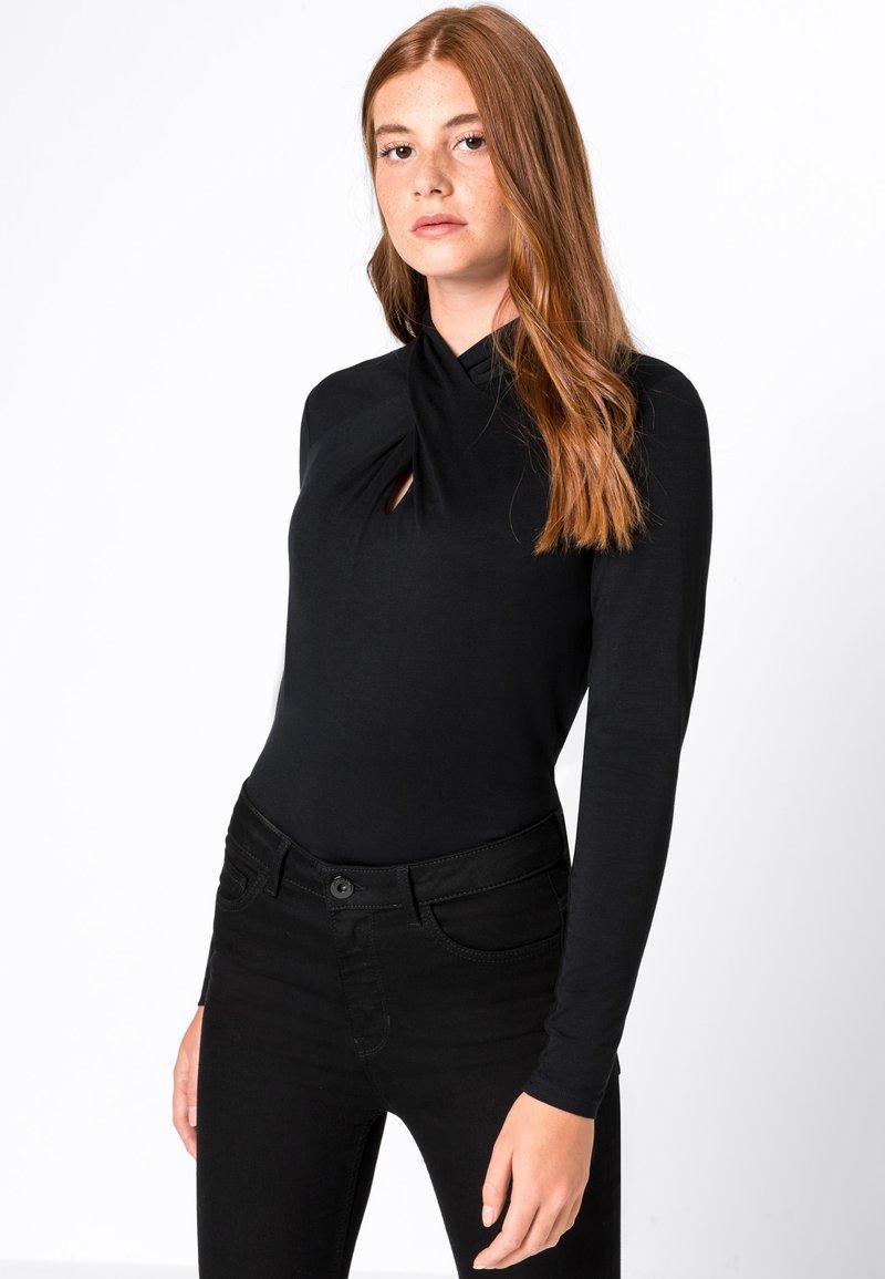 HALLHUBER - MIT DRAPIERTEM  - Long sleeved top - black