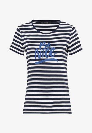 MIT BÄNDCHENSTICKEREI - Print T-shirt - indigo