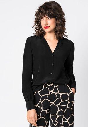 MIT REVERSKRAGEN - Button-down blouse - black