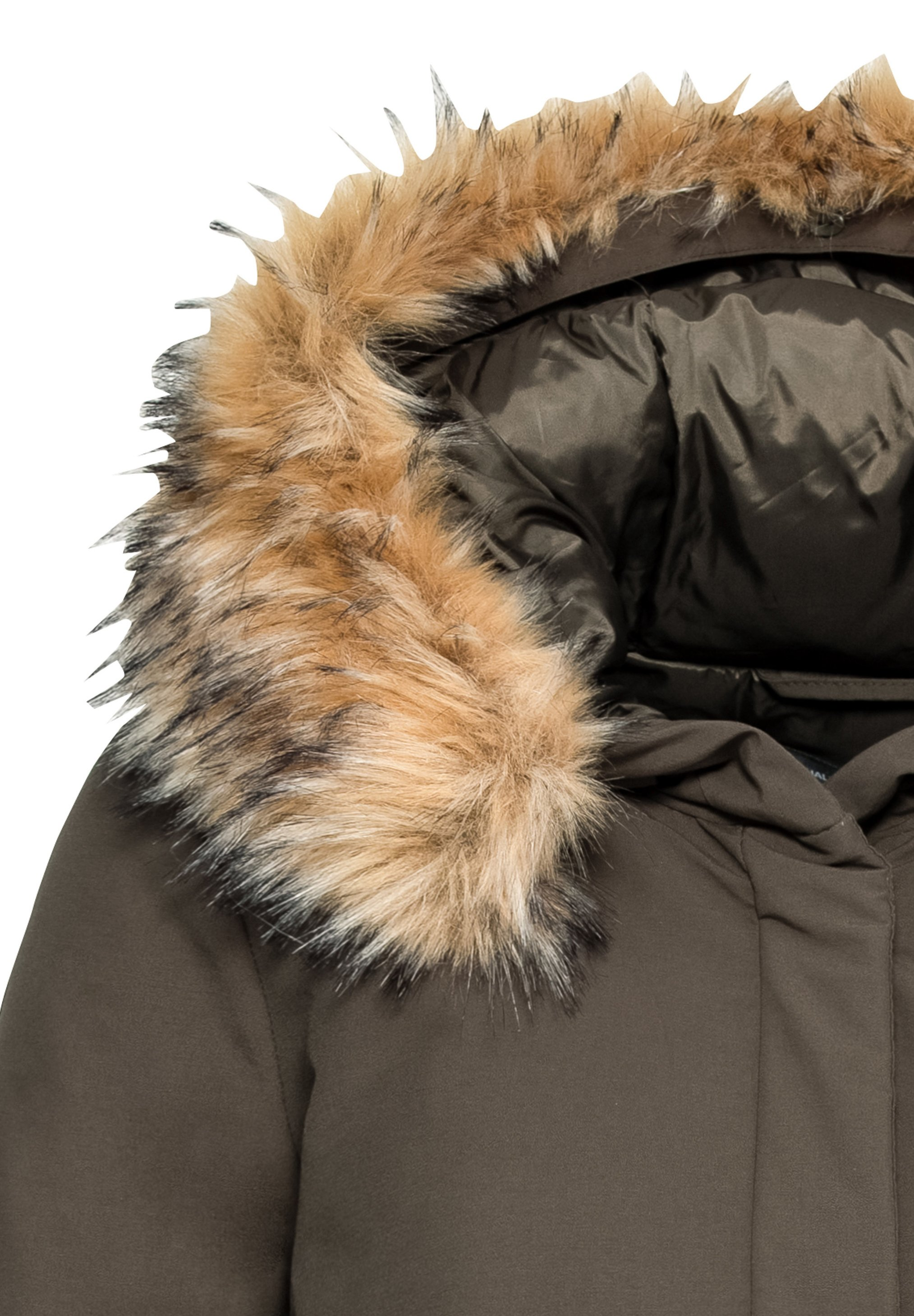 Hallhuber Mit Fake-fur - Wintermantel Dark Olive