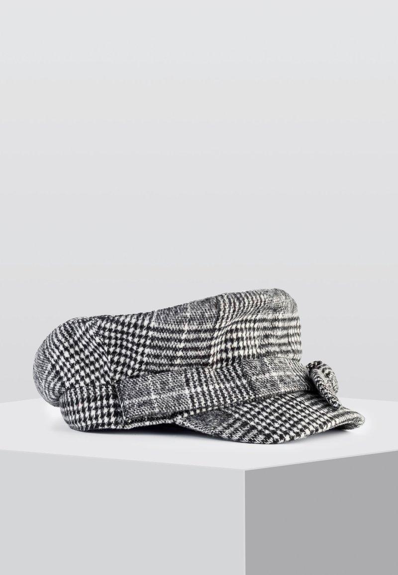 HALLHUBER - MIT GLENCHECK-MUSTER - Cap - mottled black/mottled grey/white