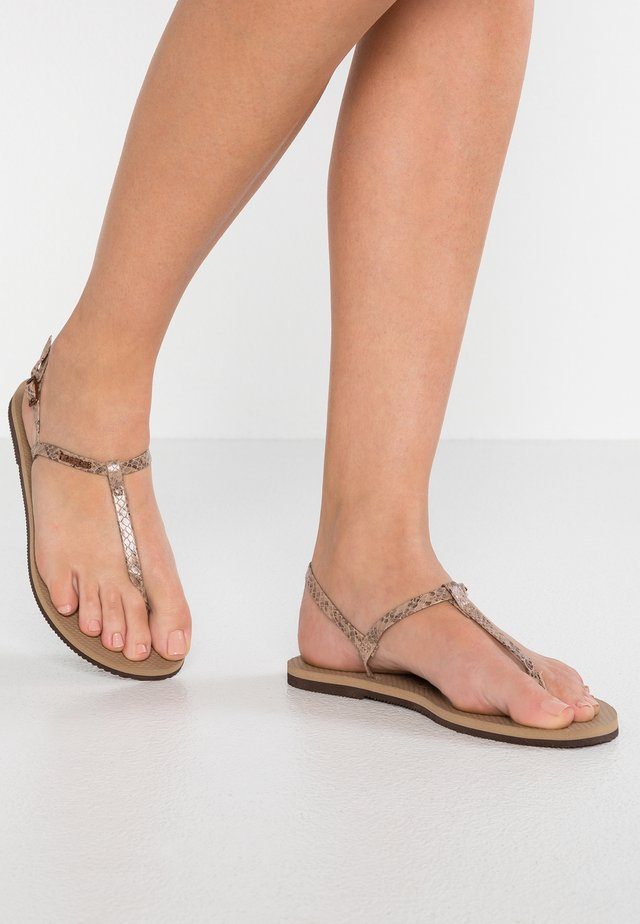 YOU RIVIERA CROCO - T-bar sandals - rose gold