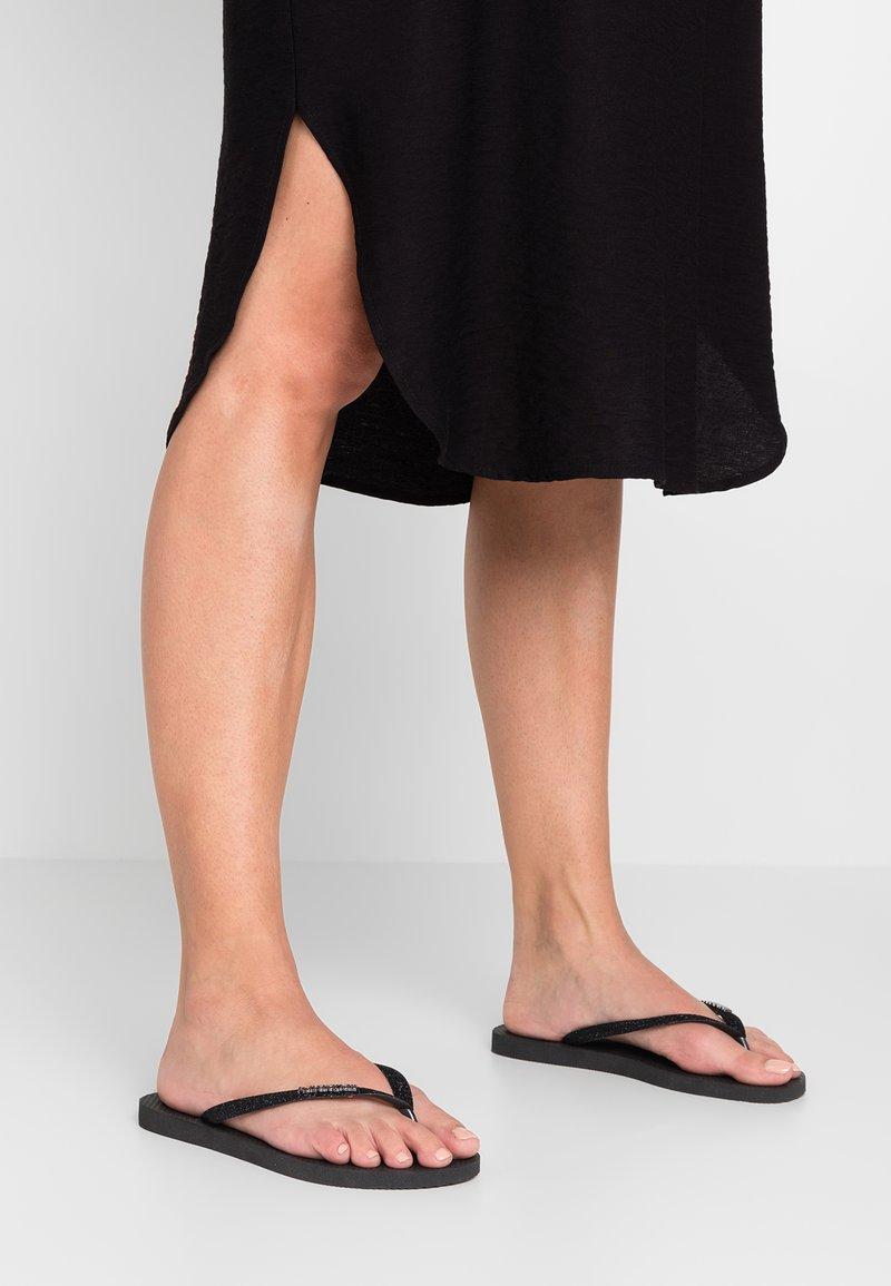 Havaianas - SLIM GLITTER - T-bar sandals - black
