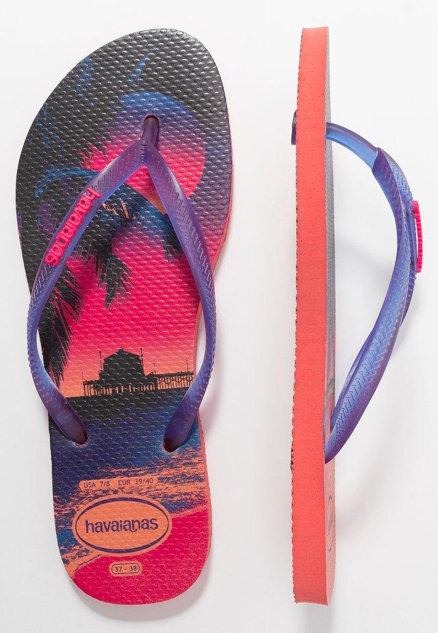 SLIM FIT PAISAGE - T-bar sandals - coral new