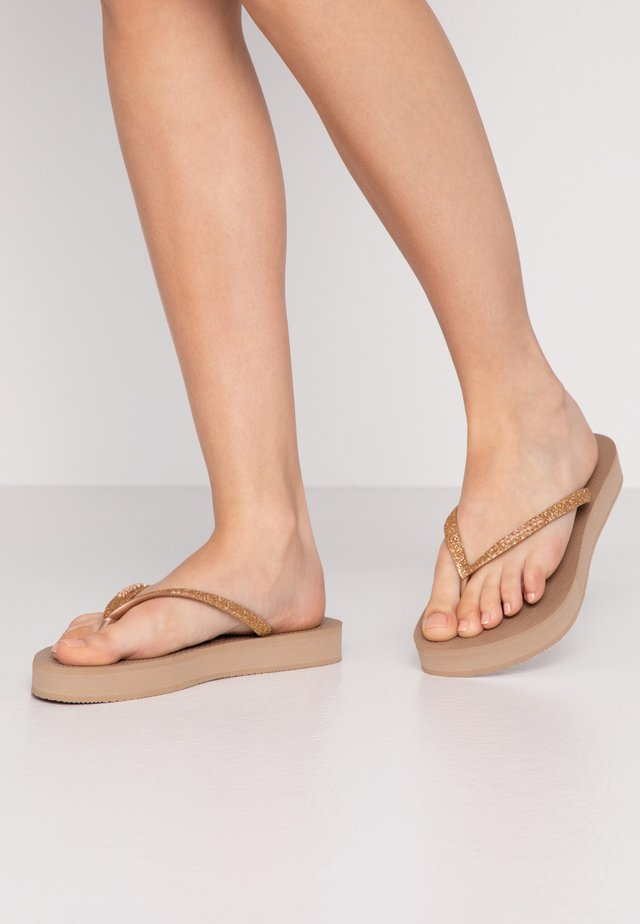 SLIM FIT GLITTER - T-bar sandals - rose gold