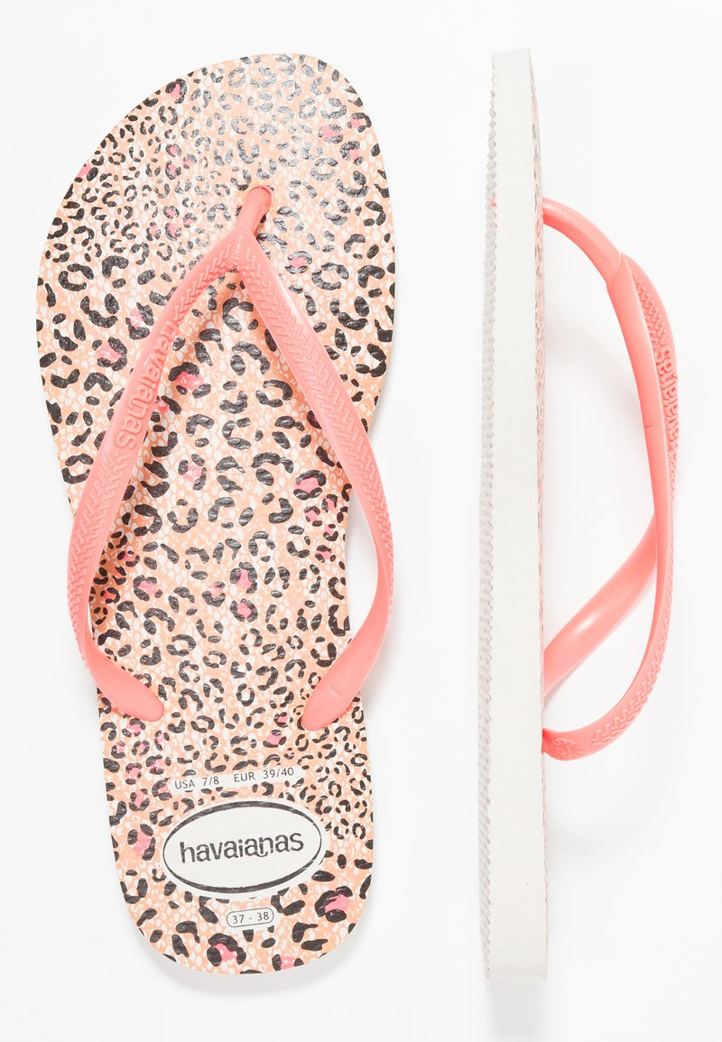 Havaianas - SLIM ANIMALS - Teenslippers - white/coral