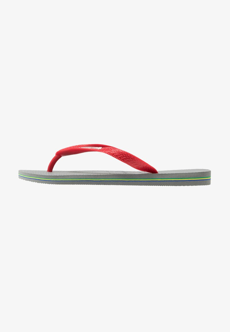 Havaianas - BRASIL LOGO - Teenslippers - steel grey/red